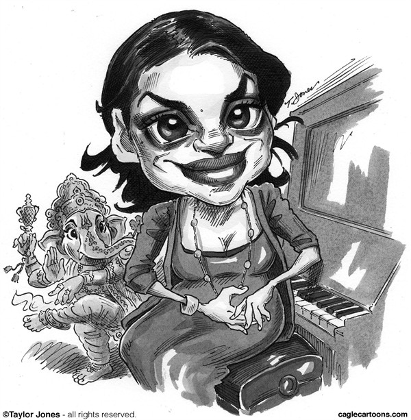 Taylor Jones - Politicalcartoons.com - Cantante Norah Jones - Spanish - Entretenimiento, musica, Pop, popular, rock, alternativo, indoamericanos, Norah, Jones, industria, discografica
