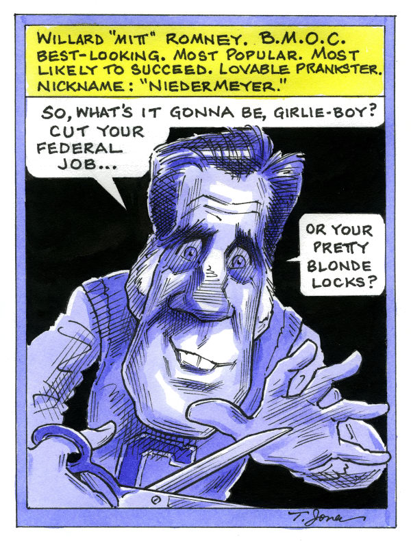 Taylor Jones - Politicalcartoons.com - Bully boy Mitt - COLOR - English - romney,mitt,mitt romney,republicans,bullies,bullying,cranbrook,cranbrook school,homosexuality,same-sex marriage,high school,venture capital,capitalists