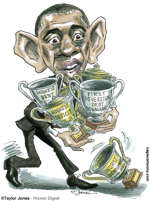 Taylor Jones - Hoover Digest - Obama - So many awards - COLOR - English - 		obama,barack,barack obama,economy,recession,great recession,unemployment,credit downgrade,debt,deficit