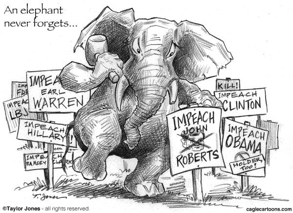Taylor Jones - Politicalcartoons.com - Elephants never forget - English - supreme court,health care reform,obamacare,obama,affordable care act,roberts,john roberts,chief justice,elephants