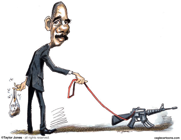 Taylor Jones - Politicalcartoons.com - Eric Holder walks the dog - COLOR - English - holder,eric holder,attorney general,fast and furious,gun-walking,obama,obama administration,justice department,drug wars,drug cartels,mexico,mexican drug war,guns,gun control