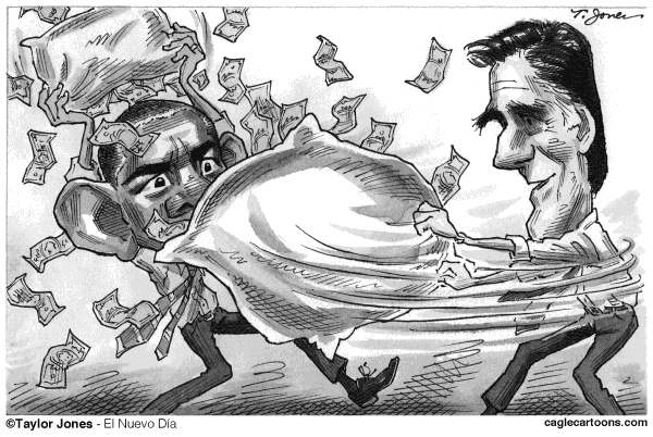 Taylor Jones - El Nuevo Dia, Puerto Rico - Obama v Romney - English - obama,barack,barack obama,romney,mitt,mitt romney,money,campaign funding,corporate funding,campaign contributions,citizens united,campaign finance,pillows,pillow fights