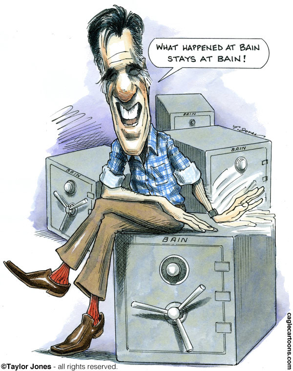 Taylor Jones - Politicalcartoons.com - Mitt Romney on Bain - COLOR - English - romney,mitt,mitt romney,bain,bain capital,outsourcing,offshoring,republicans,venture capital