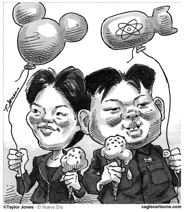 Taylor Jones - El Nuevo Dia, Puerto Rico - Kim Jong-un and girlfriend - English - kim,kim jong-un,hyon,hyon song-wol,korea,north korea,nuclear bomb,nuclear weapons,north korean nuclear program,dictatorship,mickey mouse
