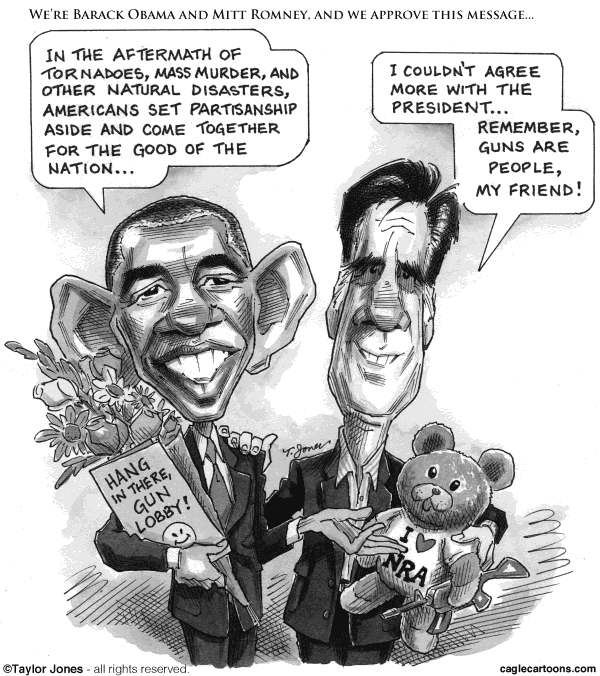Taylor Jones - Politicalcartoons.com - Obama and Romney finally agree - English - obama,barack,barack obama,romney,mitt,mitt romney,batman,batman massacre,gun violence,automatic weapons,gun control,gun lobby,NRA,colorado,aurora,james holmes