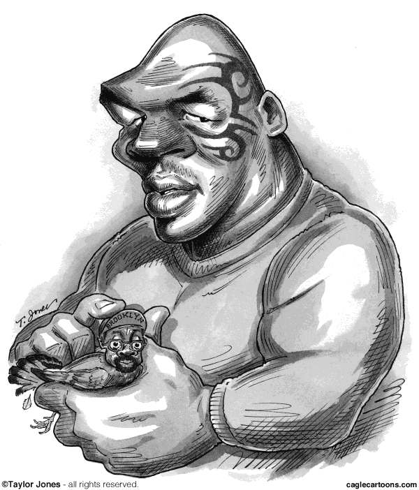 Taylor Jones - Politicalcartoons.com - Mike Tyson and Spike Lee on Broadway - English - 		tyson,mike tyson,spike,spike lee,broadway,theater,undisputed truth,boxing,boxers,pigeons