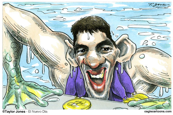 Taylor Jones - El Nuevo Dia, Puerto Rico - Michael Phelps - COLOR - English - phelps,michael phelps,olympics,london,london olympics,swimming,swimmers,gold,olympic gold,world record