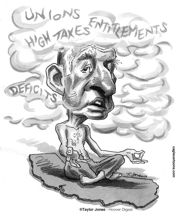 Taylor Jones - Hoover Digest - Jerry Brown fog - English - brown,jerry brown,california,debt,deficit,california deficit,california legislature,taxes,unions,moonbeam,yoga