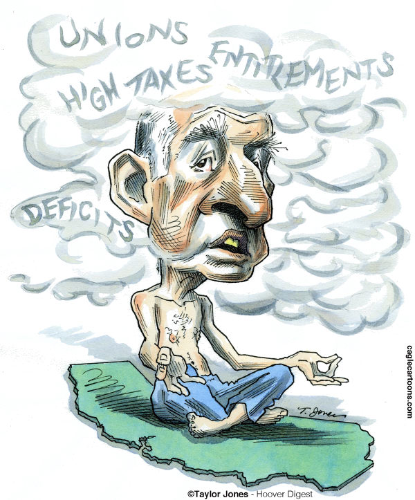 Taylor Jones - Hoover Digest - Jerry Brown fog - COLOR - English - brown,jerry brown,california,debt,deficit,california deficit,california legislature,taxes,unions,moonbeam,yoga