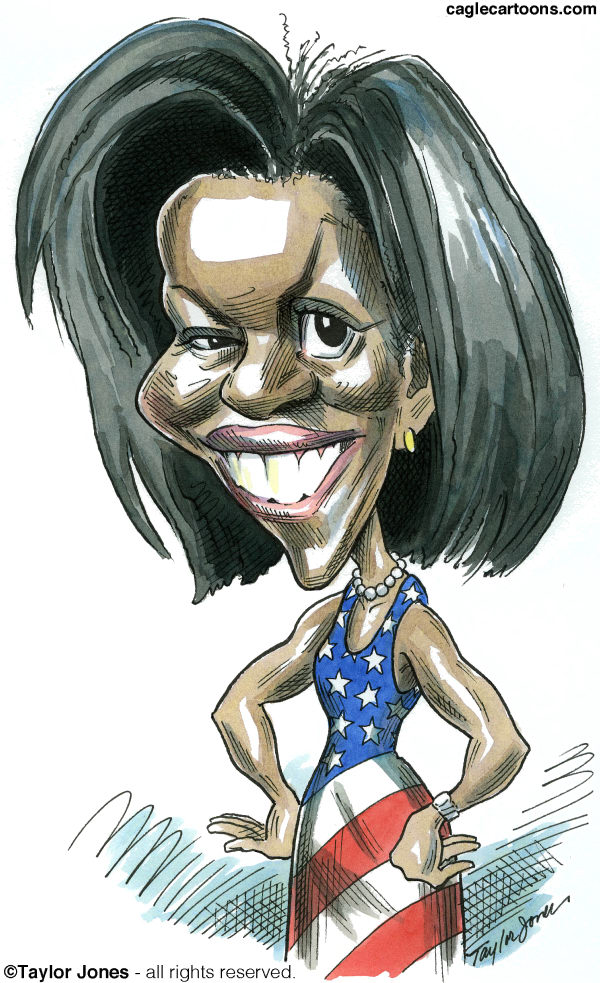 Taylor Jones - Politicalcartoons.com - The First Lady - COLOR - English - obama,michelle,michelle obama,democrats,first lady,white house,democratic convention,women