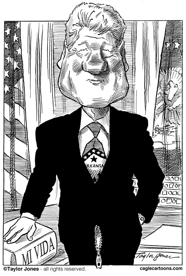 Taylor Jones - Politicalcartoons.com - Bill Clinton - Descansado y Listo - Spanish - Convencion,Nacional,Democrata,CND,eleccion,2012,Democratas,Bill,Clinton, Barack,Obama,caricatura