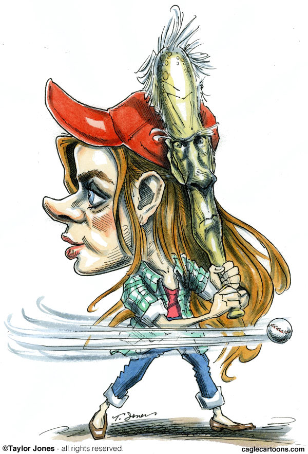 Taylor Jones - Politicalcartoons.com - Amy Adams and Clint Eastwood - COLOR - English - amy,amy adams,adams,eastwood,clint,clint eastwood,hollywood,movies,baseball,baseball movies