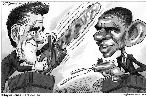 Taylor Jones - Politicalcartoons.com - The Great Debaters - English - romney,mitt,mitt romney,obama,barack,barack obama,debates,presidential debates,first debate,after-the-debate