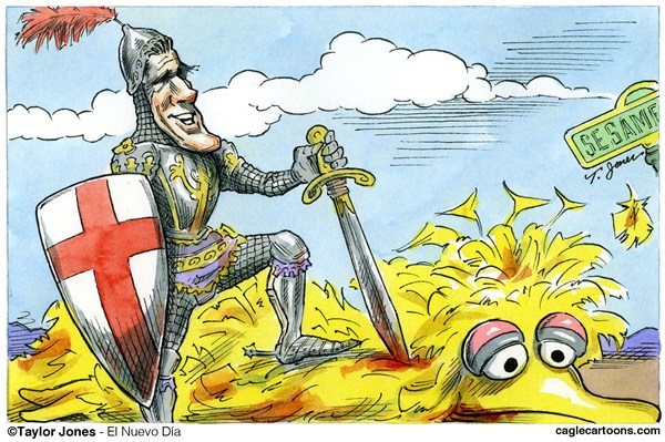 Taylor Jones - El Nuevo Dia, Puerto Rico - St Mitt and the Dragon - COLOR - English - romney,mitt,mitt romney,big,big bird,bird,yellow,sesame,street,muppets,pbs,government funding,federal budget,dragon