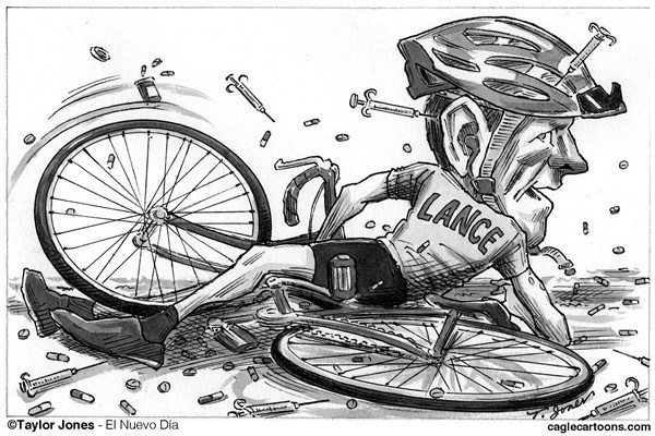 Taylor Jones - El Nuevo Dia, Puerto Rico - Lance Armstrong wipeout - English - 		armstrong,lance,lance armstrong,cycling,bicycle,doping,blood doping,steroids,human growth hormone,hgh,performance enhancing,drugs,cheating,tour de france,usada