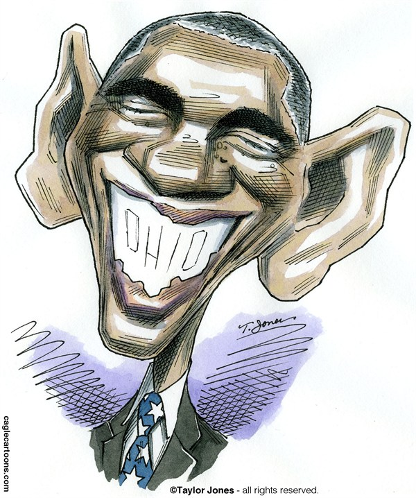 Taylor Jones - Politicalcartoons.com - Obama smile - COLOR - English - obama,barack,barack obama,reelected,ohio,presidential election,romney,mitt,mitt romney,campaign