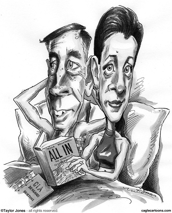 Taylor Jones - Politicalcartoons.com - Petraeus and Paula - Embedded - English - 		petraeus,david petraeus,general petraeus,paula,broadwell,paula broadwell,CIA,infidelity,affair,petraeus affair,military,All In,biography,benghazi,national security,espionage,surge,embeds