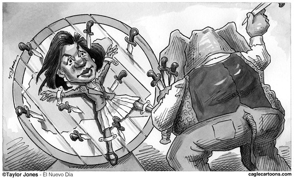 Susan Rice goes round and round © Taylor Jones,El Nuevo Dia, Puerto Rico,rice,susan rice,UN,ambassador,secretary of state,benghazi,libya,john mccain,graham,lindsey graham,knife,throwing,McCain, rice benghazi