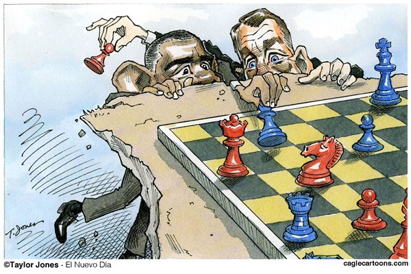 Taylor Jones - Politicalcartoons.com - Obama y Bohener - Spanish - Barack,Obama,presidente,USA,Congreso,presidente,John,Bohener,Washington,impuestos,gasto,recortes,ajedrez