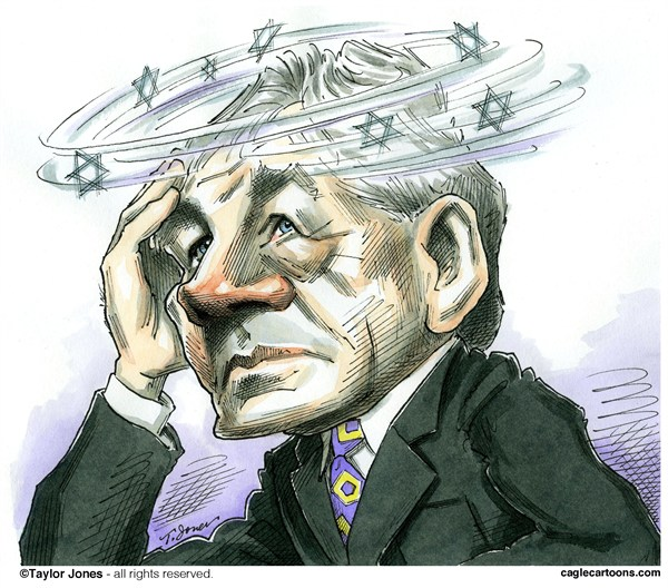 Taylor Jones - Politicalcartoons.com - Chuck Hagel headache - COLOR - English - hagel,chuck hagel,defense,nebraska,israel,iran,jews,republicans,cabinet,national security,turncoat,defense department,pentagon,maverick,bipartisanship,defense cuts,sequester