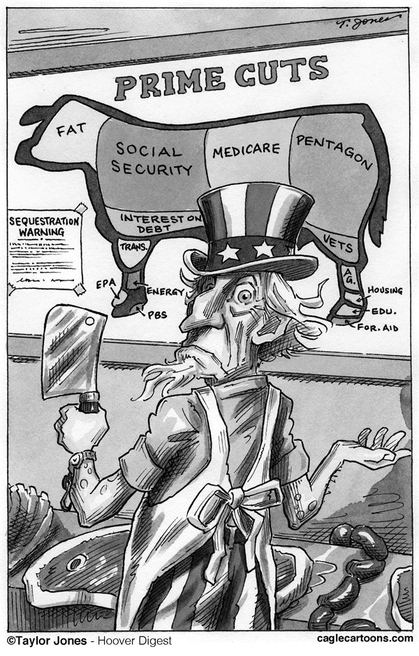 Taylor Jones - Hoover Digest - Prime budget cuts - English - budget,deficit,federal,spending,entitlements,pentagon,social security,medicare,social programs,sequestration,fiscal cliff,congress,debt ceiling,debt,military spending
