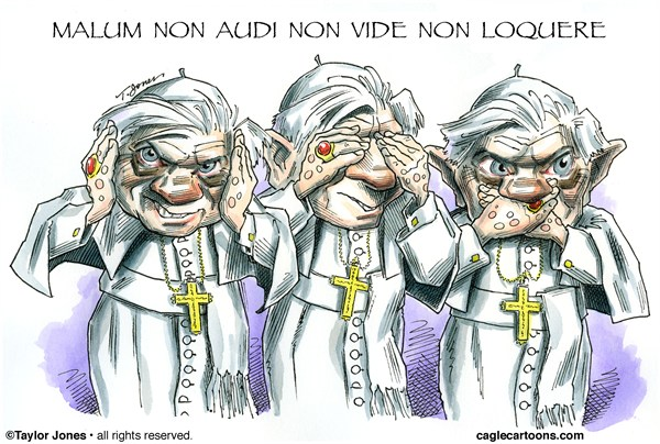 Taylor Jones - Politicalcartoons.com - Benedict XVI - Papal Legacy - COLOR - English - pope,benedict,XVI,ratzinger,vatican,papacy,resignation,catholic,church,sex scandal
