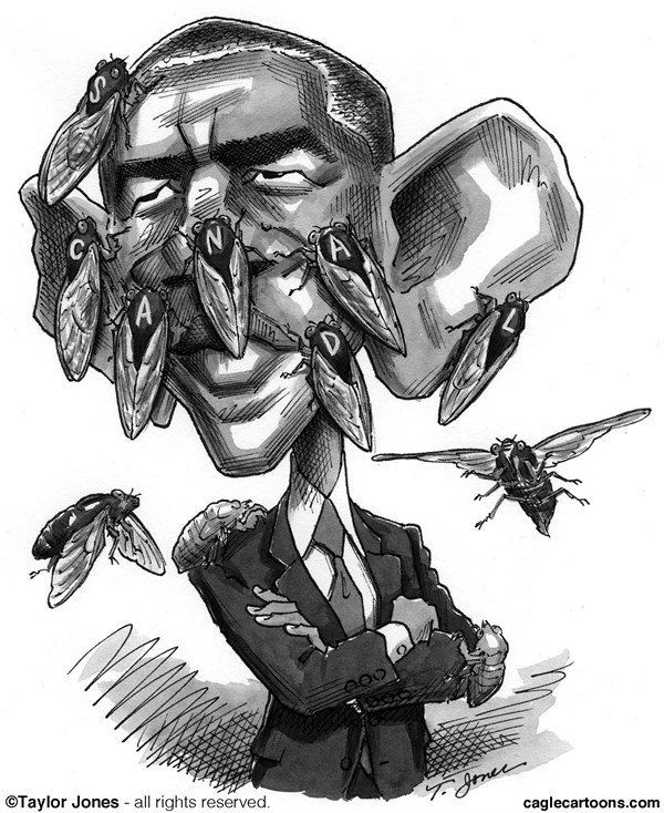 Taylor Jones - Politicalcartoons.com - Obama all buggy - English - barack,obama,periodical,cicadas,17-year,scandal,benghazi,IRS,targeting,AP,phone records,bugs,bugging,big brother,surveillance