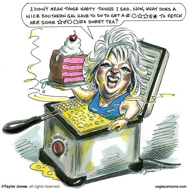 Taylor Jones - Politicalcartoons.com - Deep fried Paula Deen - COLOR - English - paula,deen,racism,n-word,food,network,southern,cooking,deep,fried,trans-fats,obesity,diabetes
