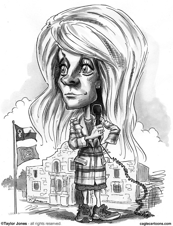 Taylor Jones - Politicalcartoons.com - Wendy Davis - English - wendy,davis,texas,abortion,rights,debate,filibuster,rick,perry,alamo,twitter,pro-choice,pink,sneakers,folk,hero