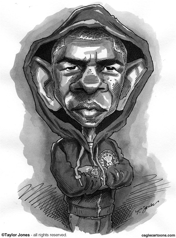 Taylor Jones - Politicalcartoons.com - Barack Trayvon Obama - Reposting - English - barack,obama,trayvon,martin,hoodie,black,youth,case,stand,your,ground,racial,profiling,zimmerman
