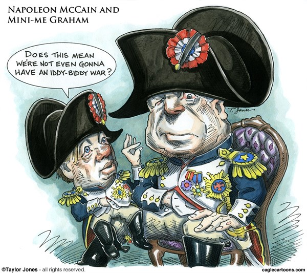 Napoleon McCain and Mini Me Graham © Taylor Jones,Politicalcartoons.com,		john,mccain,lindsey,graham,war,hawks,warmongers,neocons,syria,napoleon,mini-me