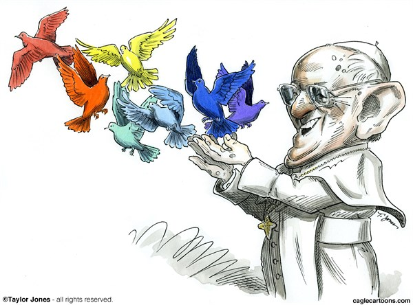 Taylor Jones - Politicalcartoons.com - Pope Francis tends Flock - COLOR - English - pope,francis,catholic,church,catholicism,vatican,openness,outreach,flock,rainbow,flag,gays,papacy