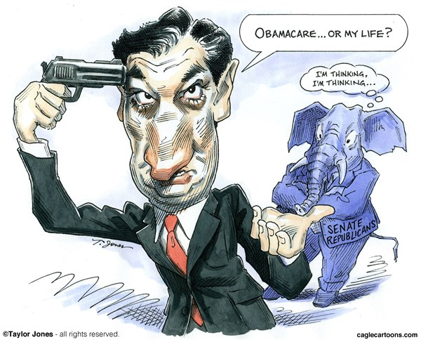 Taylor Jones - Politicalcartoons.com - Ted Cruz ultimatum - COLOR - English - ted,cruz,obamacare,filibuster,tea,party,extremist,right-wing,republicans,texas,health care,senate,congress,government,shut-down