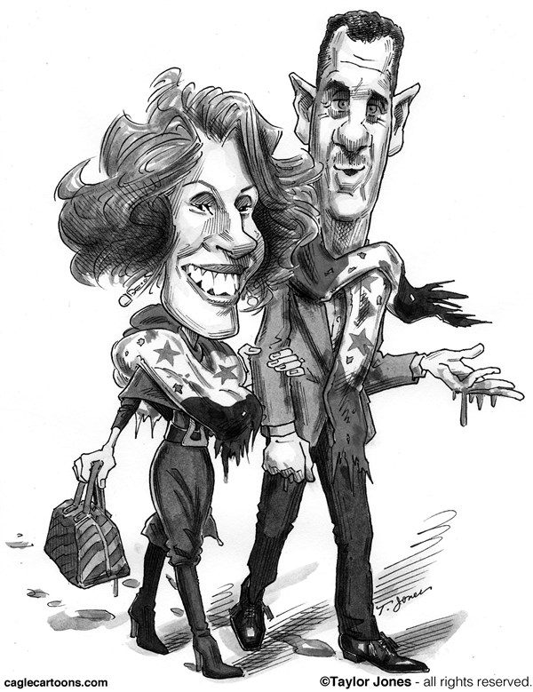 Taylor Jones - Politicalcartoons.com - The Assads- Bloody Fashion Show - English - bashar,assad,asma,syria,syrian,civil,war,fashion