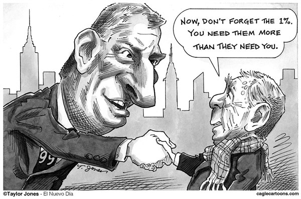Taylor Jones - El Nuevo Dia, Puerto Rico - Bill de Blasio and Mike Bloomberg - English - bill,de blasio,mike,bloomberg,new york,city,mayoralty,99 percent,1 percent,inequality