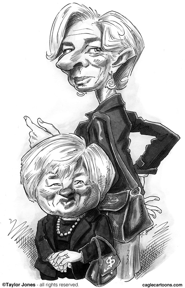 Taylor Jones - Politicalcartoons.com - Janet Yellen and Christine Lagarde - English - 		janet,yellen,christine,lagarde,federal,reserve,IMF,international,monetary,fund,the fed,money