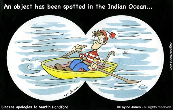 Taylor Jones - Politicalcartoons.com - Flight 370 search continues - COLOR - English - malaysia,flight,370,waldo,search,missing,plane,indian,ocean