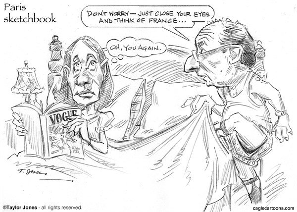 Taylor Jones - Politicalcartoons.com - Paris Sketchbook - Hollande et Royal - English - 		francois,hollande,segolene,royal,france,french,socialist,government,partnerships,battle,of the,sexes,lamour