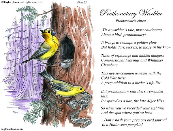 Taylor Jones - Politicalcartoons.com - Field Guide for the Birds - Plate 22 - COLOR - English - prothonotory,warbler,birds,birding,birdwatching,ornithology,nature,field,guide,conservation,cold,war
