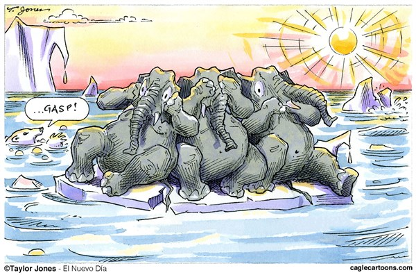 Climate change skeptics © Taylor Jones,El Nuevo Dia, Puerto Rico,climate,change,global,warming,weather,polar,ice,sheets,melting,republicans,elephants,denial,conservation,carbon,dioxide,CO2