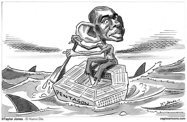 Obama adrift © Taylor Jones,El Nuevo Dia, Puerto Rico,barack,obama,pentagon,defense,department,foreign,policy,chuck,hagel,military,national,security,threat,ISIS