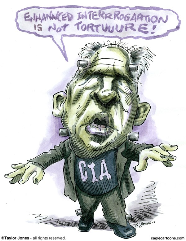CIA Director John Brennan © Taylor Jones,Politicalcartoons.com,john,brennan,CIA,director,torture,report,enhanced,interrogation,techniques,EIT,waterboarding,sleep,deprivation,war,crimes,al,qaeda,taliban,guantanamo