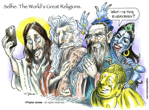 Worlds Great Religions © Taylor Jones,Politicalcartoons.com,worlds,great,religions,christianity,judaism,confucianism,buddhism,hinduism,jesus,christ,moses,confucius,buddha,shiva,tolerance,selfie