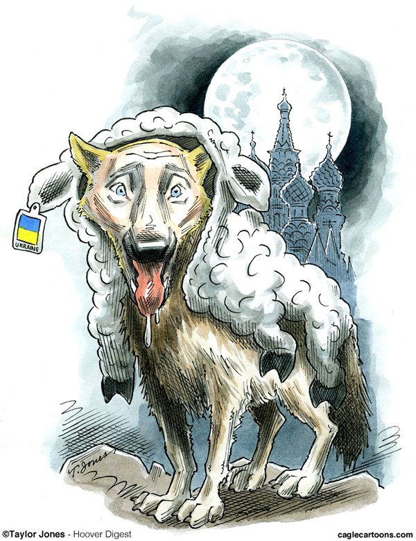 Czar in Sheep's Clothing © Taylor Jones,Hoover Digest,vladimir,putin,russia,russian,imperialism,ukraine,annexation,crimea,wolf,sheep,NATO,expansion,sanctions