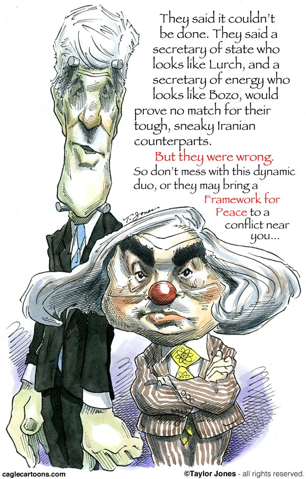 John Kerry and Ernest Moniz © Taylor Jones,Politicalcartoons.com,john,kerry,ernest,moniz,secretary,state,energy,nuclear,talks,iran,the,bomb,javad,zarif,inspections,enriched,uranium,centrifuges,sanctions