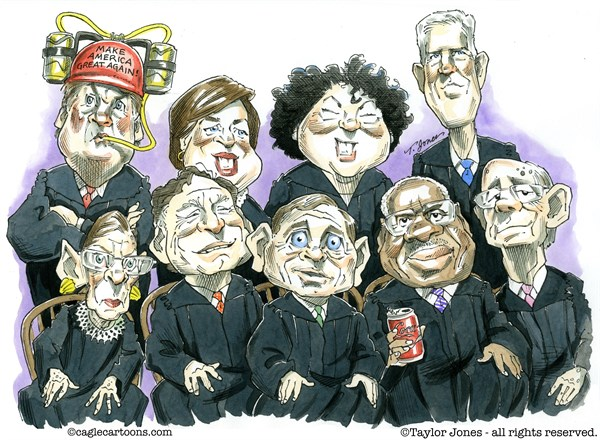 The Supreme Court, Taylor Jones,Politicalcartoons.com,supreme,court,brett,kavanaugh,chief,justice,john,roberts,clarence,thomas,samuel,alito,ruth,bader,ginsburg,stephen,breyer,sonia,sotomayor,elena,kagan,neil,gorsuch,sexual,assault,allegations,christine,blasey,ford,due,process,mark,judge,squi,beer