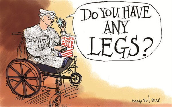 Memorial Day Sale © Michael McParlane,Politicalcartoons.com,Memorial Day, military, flag, veteran, wounded, wheelchair, army