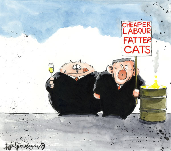 Iain Green - The Scotsman, Scotland - FAT CAT WILDCAT STRIKE - English - Gordon Brown, UK, UK Prime Minister, strikes, economy, fatcat, fatcats, credit crunch, recession