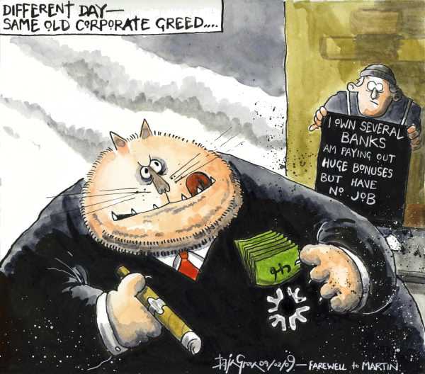 Iain Green - The Scotsman, Scotland - Bonus Greed - English - Banks, bonuses, fatcats, corporate greed, economy, recession, economic downturn, RBS