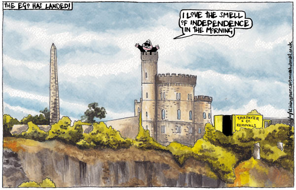Mr Scotlands Power Tower © Iain Green,The Scotsman, Scotland,scotland, alex salmond, governors house,scottish referendum, scottish independence, calton hill